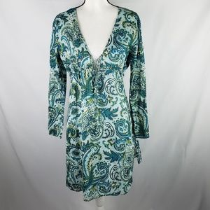 Talbot's Teal Paisley Cotton Swim Suit Cover-up L